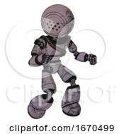 Robot Containing Dots Array Face And Light Chest Exoshielding And Rubber Chain Sash And Light Leg Exoshielding Dark Dirty Scrawl Sketch Fight Or Defense Pose