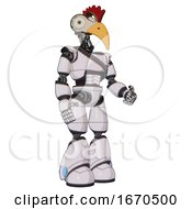 Poster, Art Print Of Droid Containing Bird Skull Head And Bone Skull Eye Holes And Chicken Design And Light Chest Exoshielding And Rubber Chain Sash And Light Leg Exoshielding White Halftone Toon Facing Left View