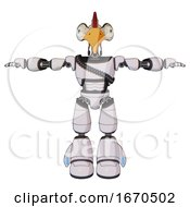 Poster, Art Print Of Droid Containing Bird Skull Head And Bone Skull Eye Holes And Chicken Design And Light Chest Exoshielding And Rubber Chain Sash And Light Leg Exoshielding White Halftone Toon T-Pose