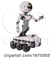 Automaton Containing Round Head Chomper Design And Light Chest Exoshielding And Ultralight Chest Exosuit And Six Wheeler Base White Halftone Toon Interacting