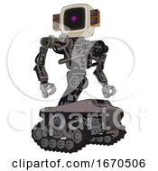 Robot Containing Old Computer Monitor And Magenta Symbol Display And Old Retro Speakers And Heavy Upper Chest And No Chest Plating And Tank Tracks Light Pink Beige Hero Pose