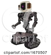 Robot Containing Old Computer Monitor And Magenta Symbol Display And Old Retro Speakers And Heavy Upper Chest And No Chest Plating And Tank Tracks Light Pink Beige Facing Right View