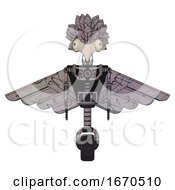 Poster, Art Print Of Robot Containing Bird Skull Head And Bone Skull Eye Holes And Bird Feather Design And Light Chest Exoshielding And Pilots Wings Assembly And No Chest Plating And Unicycle Wheel Dark Sketch Doodle