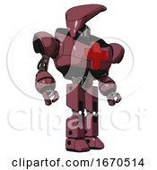 Mech Containing Flat Elongated Skull Head And Heavy Upper Chest And First Aid Chest Symbol And Prototype Exoplate Legs Muavewood Halftone Hero Pose