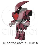 Mech Containing Flat Elongated Skull Head And Heavy Upper Chest And First Aid Chest Symbol And Prototype Exoplate Legs Muavewood Halftone Facing Right View