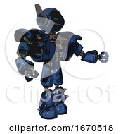 Mech Containing Digital Display Head And Sleeping Face And Winglets And Heavy Upper Chest And Heavy Mech Chest And Light Leg Exoshielding And Spike Foot Mod Grunge Dark Blue Interacting