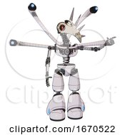 Poster, Art Print Of Droid Containing Bird Skull Head And Red Line Eyes And Light Chest Exoshielding And Blue-Eye Cam Cable Tentacles And No Chest Plating And Light Leg Exoshielding White Halftone Toon