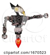 Poster, Art Print Of Robot Containing Bird Skull Head And Brass Steampunk Eyes And Robobeak Design And Heavy Upper Chest And No Chest Plating And Jet Propulsion Powder Pink Metal Pointing Left Or Pushing A Button