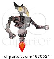 Poster, Art Print Of Robot Containing Bird Skull Head And Brass Steampunk Eyes And Robobeak Design And Heavy Upper Chest And No Chest Plating And Jet Propulsion Powder Pink Metal Interacting