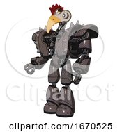 Poster, Art Print Of Bot Containing Bird Skull Head And White Eyeballs And Chicken Design And Heavy Upper Chest And Heavy Mech Chest And Shoulder Spikes And Light Leg Exoshielding Light Brown Facing Right View