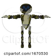 Droid Containing Digital Display Head And Woo Expression And Light Chest Exoshielding And Prototype Exoplate Chest And Ultralight Foot Exosuit Grunge Army Green T Pose