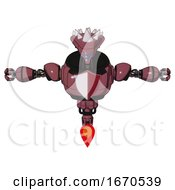 Robot Containing Flat Elongated Skull Head And Spikes And Heavy Upper Chest And Red Shield Defense Design And Jet Propulsion Muavewood Halftone T Pose
