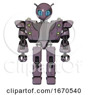 Bot Containing Grey Alien Style Head And Blue Grate Eyes And Bug Antennas And Heavy Upper Chest And Heavy Mech Chest And Green Cable Sockets Array And Prototype Exoplate Legs Lilac Metal Front View