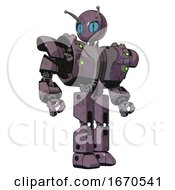 Bot Containing Grey Alien Style Head And Blue Grate Eyes And Bug Antennas And Heavy Upper Chest And Heavy Mech Chest And Green Cable Sockets Array And Prototype Exoplate Legs Lilac Metal Hero Pose
