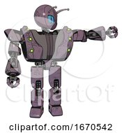 Bot Containing Grey Alien Style Head And Blue Grate Eyes And Bug Antennas And Heavy Upper Chest And Heavy Mech Chest And Green Cable Sockets Array And Prototype Exoplate Legs Lilac Metal