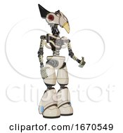 Poster, Art Print Of Automaton Containing Bird Skull Head And Red Led Circle Eyes And Robobeak Design And Light Chest Exoshielding And No Chest Plating And Light Leg Exoshielding Off White Toon Facing Left View