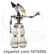 Poster, Art Print Of Automaton Containing Bird Skull Head And Red Led Circle Eyes And Robobeak Design And Light Chest Exoshielding And No Chest Plating And Light Leg Exoshielding Off White Toon