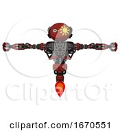 Droid Containing Oval Wide Head And Sunshine Patch Eye And Heavy Upper Chest And No Chest Plating And Jet Propulsion Cherry Tomato Red T Pose