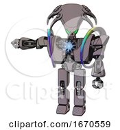 Android Containing Flat Elongated Skull Head And Heavy Upper Chest And Heavy Mech Chest And Spectrum Fusion Core Chest And Prototype Exoplate Legs Halftone Gray Arm Out Holding Invisible Object