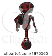 Droid Containing Oval Wide Head And Beady Black Eyes And Barbed Wire Cage Helmet And Light Chest Exoshielding And Rocket Pack And No Chest Plating And Unicycle Wheel Matted Red Hero Pose