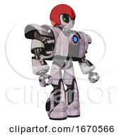 Robot Containing Grey Alien Style Head And Green Inset Eyes And Red Helmet And Heavy Upper Chest And Heavy Mech Chest And Blue Energy Fission Element Chest And Light Leg Exoshielding