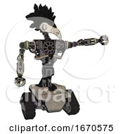 Cyborg Containing Bird Skull Head And White Eyeballs And Crow Feather Design And Heavy Upper Chest And No Chest Plating And Tank Tracks Grungy Fiberglass Pointing Left Or Pushing A Button