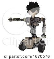 Cyborg Containing Bird Skull Head And White Eyeballs And Crow Feather Design And Heavy Upper Chest And No Chest Plating And Tank Tracks Grungy Fiberglass Arm Out Holding Invisible Object