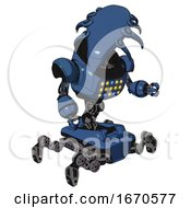 Mech Containing Flat Elongated Skull Head And Heavy Upper Chest And Colored Lights Array And Insect Walker Legs Blue Halftone Fight Or Defense Pose