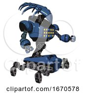 Mech Containing Flat Elongated Skull Head And Heavy Upper Chest And Colored Lights Array And Insect Walker Legs Blue Halftone Interacting