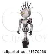 Automaton Containing Oval Wide Head And Yellow Eyes And Techno Halo Ornament And Light Chest Exoshielding And Ultralight Chest Exosuit And Unicycle Wheel Grunge Sketch Dots