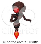 Bot Containing Round Head And Red Laser Crystal Array And Head Light Gadgets And Light Chest Exoshielding And Ultralight Chest Exosuit And Jet Propulsion Steampunk Copper Fight Or Defense Pose