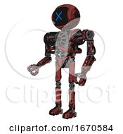 Robot Containing Digital Display Head And X Face And Heavy Upper Chest And No Chest Plating And Ultralight Foot Exosuit Grunge Matted Orange Facing Right View