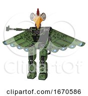 Poster, Art Print Of Robot Containing Bird Skull Head And White Eyeballs And Chicken Design And Light Chest Exoshielding And Cherub Wings Design And No Chest Plating And Prototype Exoplate Legs Grunge Grass Green