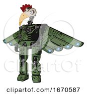 Robot Containing Bird Skull Head And White Eyeballs And Chicken Design And Light Chest Exoshielding And Cherub Wings Design And No Chest Plating And Prototype Exoplate Legs Grunge Grass Green