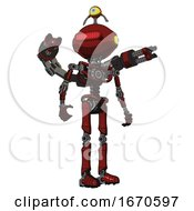 Bot Containing Oval Wide Head And Red Horizontal Visor And Minibot Ornament And Light Chest Exoshielding And Minigun Back Assembly And No Chest Plating And Ultralight Foot Exosuit Matted Red