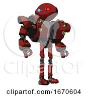 Droid Containing Oval Wide Head And Giant Blue And Red Led Eyes And Heavy Upper Chest And Heavy Mech Chest And Green Cable Sockets Array And Ultralight Foot Exosuit Cherry Tomato Red Hero Pose