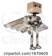 Bot Containing Dual Retro Camera Head And Cardboard Box Head And Light Chest Exoshielding And Blue Energy Core And Cherub Wings Design And Ultralight Foot Exosuit Halftone Sketch Facing Left View