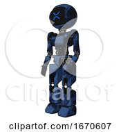 Mech Containing Digital Display Head And Wince Symbol Expression And Light Chest Exoshielding And Ultralight Chest Exosuit And Prototype Exoplate Legs Grunge Dark Blue Facing Right View
