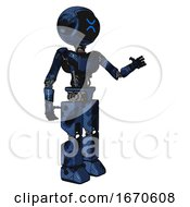Mech Containing Digital Display Head And Wince Symbol Expression And Light Chest Exoshielding And Ultralight Chest Exosuit And Prototype Exoplate Legs Grunge Dark Blue Interacting