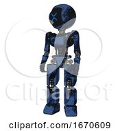 Mech Containing Digital Display Head And Wince Symbol Expression And Light Chest Exoshielding And Ultralight Chest Exosuit And Prototype Exoplate Legs Grunge Dark Blue