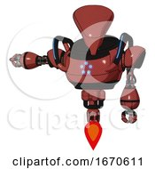 Mech Containing Flat Elongated Skull Head And Heavy Upper Chest And Circle Of Blue Leds And Blue Strip Lights And Jet Propulsion Light Brick Red Arm Out Holding Invisible Object