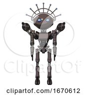 Cyborg Containing Oval Wide Head And Blue Eyes And Techno Halo Ornament And Light Chest Exoshielding And Ultralight Chest Exosuit And Minigun Back Assembly And Ultralight Foot Exosuit Light Brown