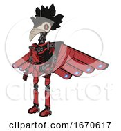 Poster, Art Print Of Cyborg Containing Bird Skull Head And Red Line Eyes And Crow Feather Design And Light Chest Exoshielding And Cherub Wings Design And No Chest Plating And Ultralight Foot Exosuit Primary Red Halftone