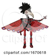 Cyborg Containing Bird Skull Head And Red Line Eyes And Crow Feather Design And Light Chest Exoshielding And Cherub Wings Design And No Chest Plating And Ultralight Foot Exosuit Primary Red Halftone