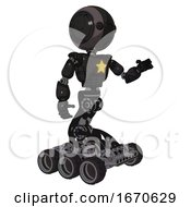 Robot Containing Round Head And Maru Eyes And Light Chest Exoshielding And Yellow Star And Six Wheeler Base Toon Black Scribbles Sketch Interacting
