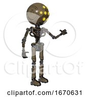 Robot Containing Round Head And Yellow Eyes Array And Light Chest Exoshielding And No Chest Plating And Ultralight Foot Exosuit Desert Tan Painted Interacting