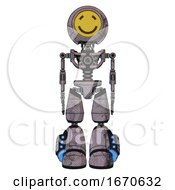 Droid Containing Round Head Yellow Happy Face And Light Chest Exoshielding And No Chest Plating And Light Leg Exoshielding And Megneto Hovers Foot Mod Dark Dirty Scrawl Sketch Front View