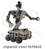 Mech Containing Humanoid Face Mask And Two Face Black White Mask And Heavy Upper Chest And No Chest Plating And Six Wheeler Base Grungy Fiberglass Interacting