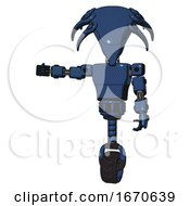Robot Containing Flat Elongated Skull Head And Light Chest Exoshielding And Prototype Exoplate Chest And Unicycle Wheel Dark Blue Halftone Arm Out Holding Invisible Object