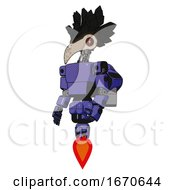 Poster, Art Print Of Automaton Containing Bird Skull Head And Red Line Eyes And Crow Feather Design And Light Chest Exoshielding And Prototype Exoplate Chest And Rocket Pack And Jet Propulsion Primary Blue Halftone